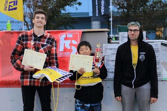 世界大会ですか?フリースタイルスケートボードコンテストの表彰式
